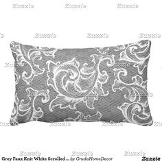 Grey Faux Knit White Scrolled Leaves Throw Pillow