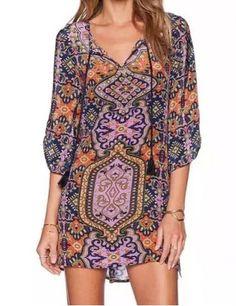 Fashionable V-Neck Full Print 3/4 Sleeve Dress For Women Print Dresses | RoseGal.com Mobile