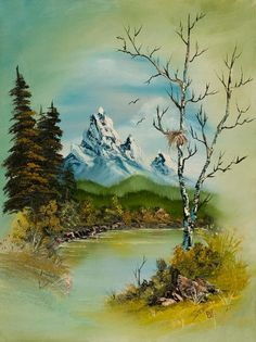 bob ross mountain oval painting
