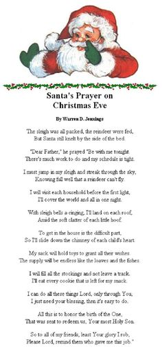 Santa's Prayer on Christmas Eve: This is a cute idea to help kids learn the real meaning of Christmas. Christmas Prayer, Christmas Poems, Meaning Of Christmas, Christmas Activities, Santa Christmas, A Christmas Story, Christmas Printables, Christmas Traditions, All Things Christmas
