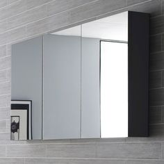 Hudson Reed Quartet Mirrored Cabinet 700mm H x 1350mm W Grey