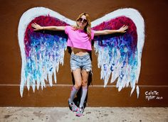 Drawn wings graffiti - pin to your gallery. Explore what was found for the drawn wings graffiti Angel Wings Painting, Angel Wings Wall, Colette Miller Wings, California Art, Feather Art, Mural Wall Art, Creative Artwork, Instagram Worthy, Colorful Drawings
