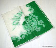 Vintage Irish Green and white Handkerchief by AntiquesGaloreGal