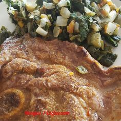 #Mutton chop with spinach tomotoe and onion  @kngluv kngluv.com