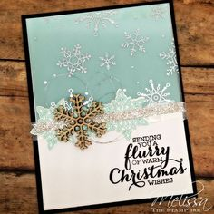 by Melissa: Flurry of Wishes, Holidays Fancy Foil Vellum, Snow Flurry Punch, Snowflake Elements, & more - all supplies from Stampin' Up!