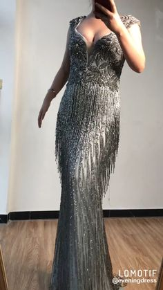 Luxury V-Neck Beading Tassel Evening Gowns. Processing time full of high end handmade business days after payment . Source by dresses videos Hijab Wedding Dresses, Evening Dresses For Weddings, Evening Gowns, Prom Dresses, Beaded Dresses, Flapper Dresses, Couture Dresses, Fashion Dresses, Godmother Dress