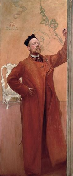 Carl Larsson, Self Portrait In Front of the Mirror, 1900. Carl Larsson (May 28, 1853 – January 22, 1919) was a Swedish painter and interior designer, representative of the Arts and Crafts Movement. His many paintings include oils, watercolors, and frescoes.