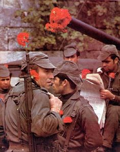 """The Carnation Revolution - """"Revolução dos Cravos"""". A bloodless coup in Portugal, 1974 History Of Portugal, 25 Avril, San Francisco Earthquake, Military Coup, Portuguese Culture, Another World, Carnations, Military History, Armed Forces"""