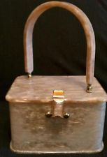 Vintage Pearlized Sand Brown LLEWELLYN of N.Y.C. LUCITE Handbag Purse Authentic