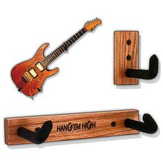 """The HANG'em HIGH Angled Guitar Hanger Classic Oak Model 3 for ELECTRIC GUITARS is a patented design made of a two-piece system that is mounted on the wall so you can proudly display and hang your guitar or bass on your wall at an ANGLE. to create that """"Rock Star lives here"""" and """"Hard Rock Cafe"""" l..."""