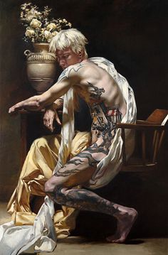 """Patrick"" - Teresa Oaxaca, oil on canvas {contemporary renaissance chiaroscuro art blonde male tattooed seated man painting} teresaoaxaca.com"