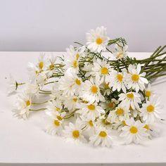 White Daisy Artificial Flowers Long Branch Bouquet for Home Wedding Garden Decoration DIY Bridal Silk Fake Flower Accessories - White