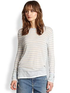 Vince Striped Jersey Tee. yes please. love the slouchy or ruched sleeves