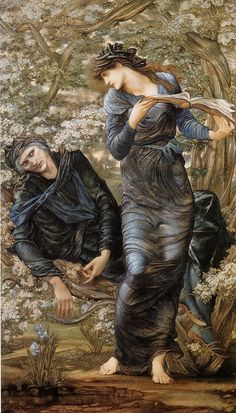 'The Beguiling of Merlin', c1874 by Edward Burne-Jones (1833-1898). It shows Nimue, (who Merlin was infatuated with), she is reading from his own book of spells. Having previously enchanted him and put him to sleep. He is now trapped in a Hawthorne bush.