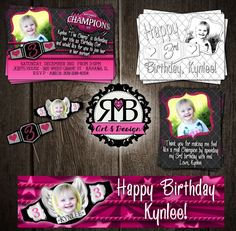 Girls champion birthday party package designed by RMB Art & Design (WE DO HAVE THIS IN A RED FOR THE BOYS TOO!!) https://www.facebook.com/RMBArtAndDesign/ #WWE #WWEDIVAS #birthdayInvitation #birthdayPackage #birthdayParty #wweparty #coloringpage #invitation #thankyoucards #banner #cupcaketoppers #invitation #wrestlingParty #girlswwe #wweWomens