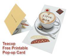 Teacup pop up card. Free printable. Pattern: http://cp.c-ij.com/en/contents/3055/c00013/downloads/pop-up-teacup_e_a4.pdf Assembly instruction: http://cp.c-ij.com/en/contents/3055/c00013/downloads/pop-up-teacup_i_e_a4.pdf
