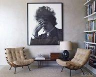 Large portrait, neutrals, and vintage chairs