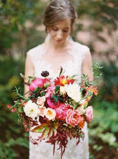 Peony and Autumn Leaves Bouquet | photography by http://annapetersphoto.com