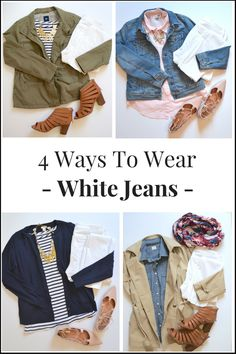 4 Ways To Wear White Jeans - Wear them with a utility jacket, striped top, open toe booties, gingham shirt, denim jacket, lace up flats, cardigan, trench coat, scarf and chambray shirt.