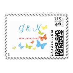 Butterfly Kisses Bridal Shower and Wedding Stamp