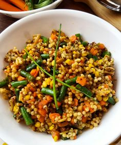 Israeli Couscous - so spicy and yummy! °°°°°°°°°°°°°°°°°°°°°°°°°°°°°°°°°°°°°°°°°°°°° Simply Cook this pasta in vegetable stock. Cool. Add the following: 1 c each Diced mushrooms, carrots, green beans- All par cooked  1T Himalayan sea salt  1 t cumin 1/2 t Black pepper  1/4 t garlic powder Top with pepper oil: 1 1/2 T red pepper seeds mixed in 1 1/2 T olive oil with 1/2 t Hungarian smoked paprika Can eat cold or hot EAT■WHAT■YOU■LOVE
