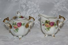 Ucagco Mini Sugar Bowl and Creamer Pink Yellow Roses Porcelain Gold Trim Lidded Footed by TresorsEnchantes on Etsy