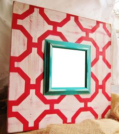 4x4 Square Distressed Frame with Moroccan by AmberLaneFrames