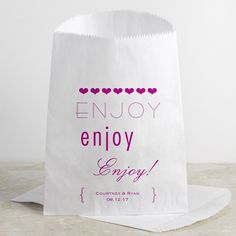 "Cheers to Us - ""Enjoy"" Favor Bag #Typography #DavidsBridal #WeddingFavors"