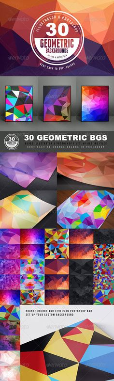 Geometric Backgrounds or Textures  #color #polygon #graphics • Click here to download ! http://graphicriver.net/item/geometric-backgrounds-or-textures/6057985?ref=pxcr