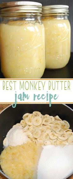 Monkey Butter - A Tropical Jam with Banana, Coconut and Pineapple Jam! Crazy good on toast, english muffins or even ice cream!Monkey Butter - A Tropical Jam with Banana, Coconut and Pineapple Jam! Crazy good on toast, english muffins or even ice cream! Jelly Recipes, Banana Recipes, Dessert Recipes, Banana Butter Recipe, Banana Spread Recipe, Recipes Dinner, Drink Recipes, Coconut Jam, Banana Coconut