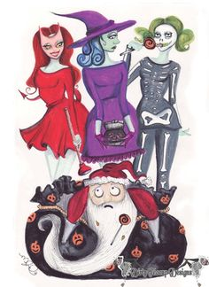 Fashion Nightmares Before Christmas is a limited edition set of fashion illustration style greeting cards inspired by Tim Burtons Nightmare