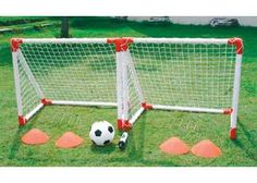 Two Mini Soccer Goal Set. Children can play soccer with this mini goal set even when there is not room to move.