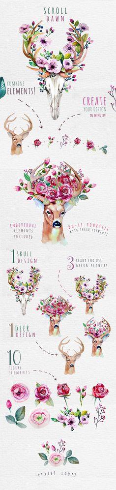 Deer, skull & floral by Peace ART on @creativemarket http://www.skullclothing.net