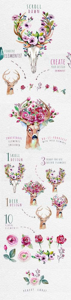 Deer, skull & floral by Peace ART on @creativemarket