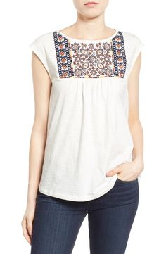 Caslon® Embroidered Cap Sleeve Knit Top (Regular & Petite) at Nordstrom.com.