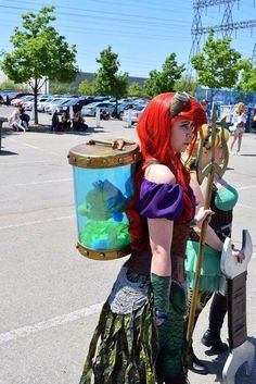 Steampunk Ariel with Flounder cosplay