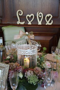 Flower Design Events: Vintage Birdcage Table Centrepiece