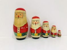 Vintage Father Christmas Russian dolls, Christmas Decorations by Seekandchic on Etsy Luggage Labels, Father Christmas, Antique Metal, Oil Lamps, Vintage Decor, Vintage Christmas, I Shop, Etsy Seller, Christmas Decorations