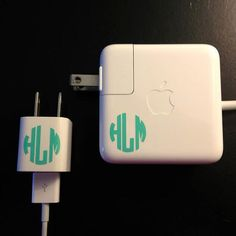 iPhone laptop charger monogrammed sticker