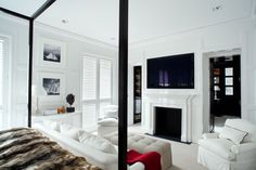 Luis Bustamante's stylish, symmetrical, classical and modern interiors White Bedroom Decor, Home Decor Bedroom, Modern Bedroom, Bedroom Ideas, Interior Design Studio, Interior Design Inspiration, Design Room, Design Ideas, Bedroom Fireplace