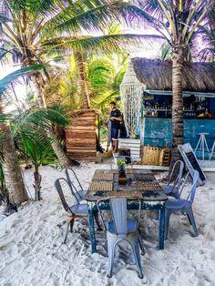 Beach dining in Tulum, Mexico.