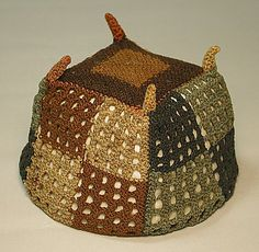 Four-Cornered Hat Date: century Geography: Bolivia (?) Culture: Tiwanaku Medium: Camelid hair Dimensions: Height in. Peruvian Textiles, Hat Patterns To Sew, Cleveland Museum Of Art, Beaded Collar, Ceramic Artists, Geometric Designs, Handmade Clothes, Metropolitan Museum, South America
