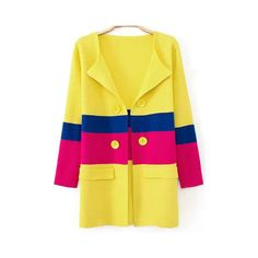 Yellow Long Sleeve Double Breasted Pockets Coat ($21) found on Polyvore featuring outerwear, coats, yellow, yellow coat, colorblock coat, long sleeve coat, knit coat and color block coat
