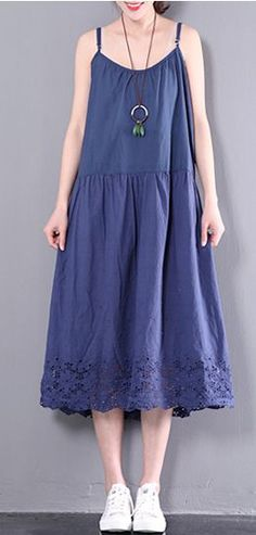 d8614480de9e Dark blue sleeveless maxi dress o neck women sundresses plus size cotton  traveling dresses