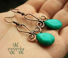 Wire work teardrop bead earrings                              …