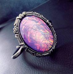 Fire within'  Sterling Silver purple opal art deco style cuff bracelet
