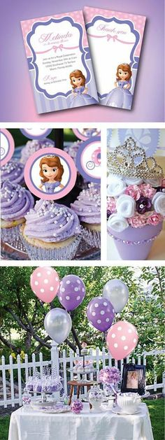 Sofia the First party ideas, Invitation, cup cake toppers & thank you cards! by GardellaGlobal Princess Sofia Birthday, Sofia The First Birthday Party, 4th Birthday Parties, Third Birthday, Birthday Ideas, Lila Party, Festa Party, Princesse Party, Party Decoration