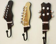 Free shipping Coat hooks cloths wallhook clothes hook cloth Hook Hanger cute guitar head design for music guitar player lover(China (Mainland))
