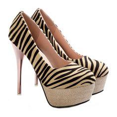 Women Thin Shoes Galvanized Heel Zebra Striation Plus Size beige