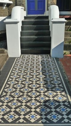 blue black and white tile | Classic 50mm black and white Victorian mosaic tile path with slate ...